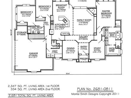 Story 3 Bedroom with Staircase 2 Story 3 Bedroom House Plans