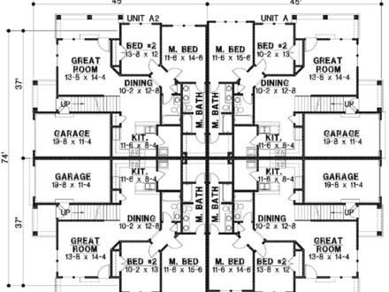 One Story Duplex House Plans Ranch Duplex House Plans With