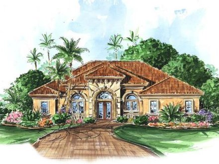 Spanish style home with courtyard pool mediterranean style for Small spanish style house plans
