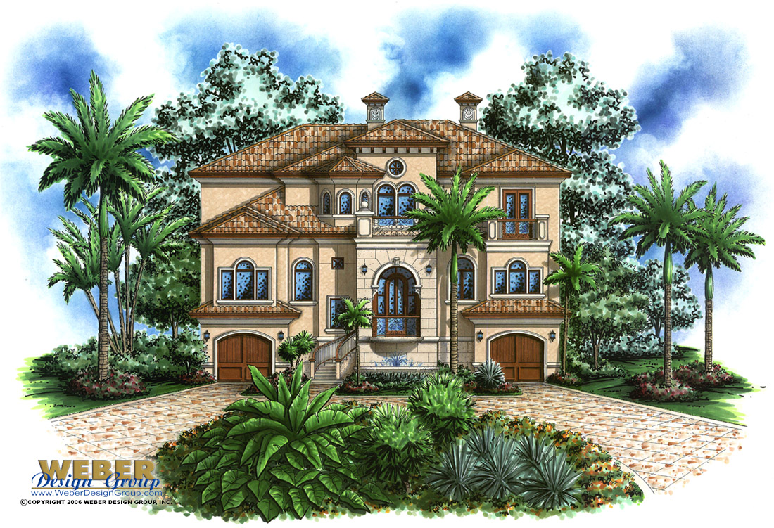 2 Story House 3 Story Mediterranean House Plans Tropical