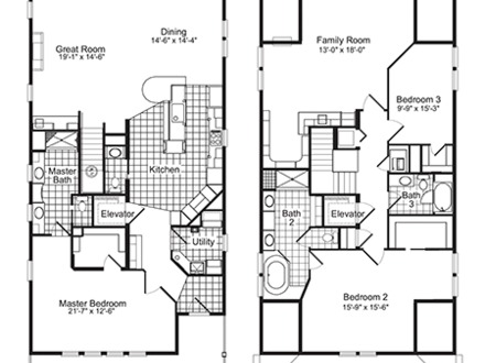 Single family home floor plans single floor house plans for Single family home blueprints