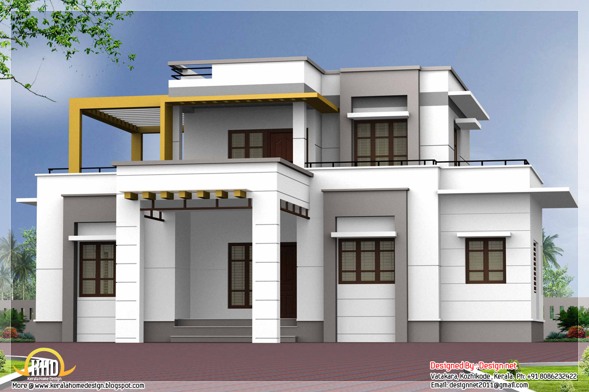 Flat Roof House Plans Designs Sloped Roof House Plans