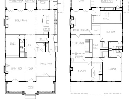 Simple square house floor plans one story square house for American foursquare floor plans