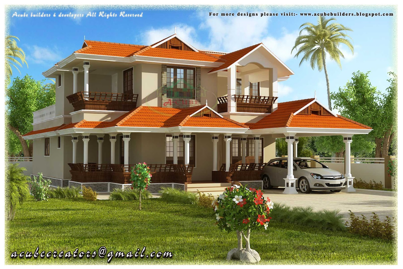 Big 2 story houses 2 story beautiful house kerala style for Beautiful two story houses