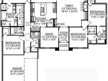 4 Bedroom One Story House Plans Inside 4-Bedroom