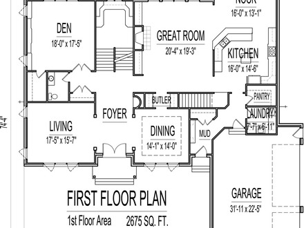 5000 sq ft house floor plans 1500 sq ft house 2 story 5 for 1500 sq ft single story house plans