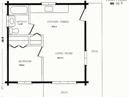 20 X 24 House Floor Plans 20 X 24 Cabin Floor Plan with Loft