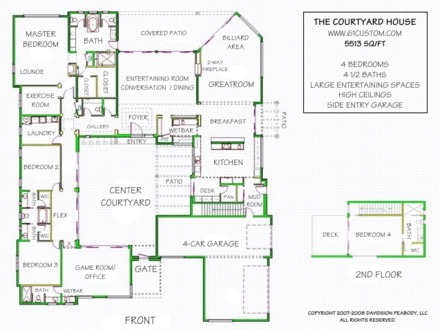 U shaped house plan with courtyard u shaped ranch house for Courtyard entry house plans
