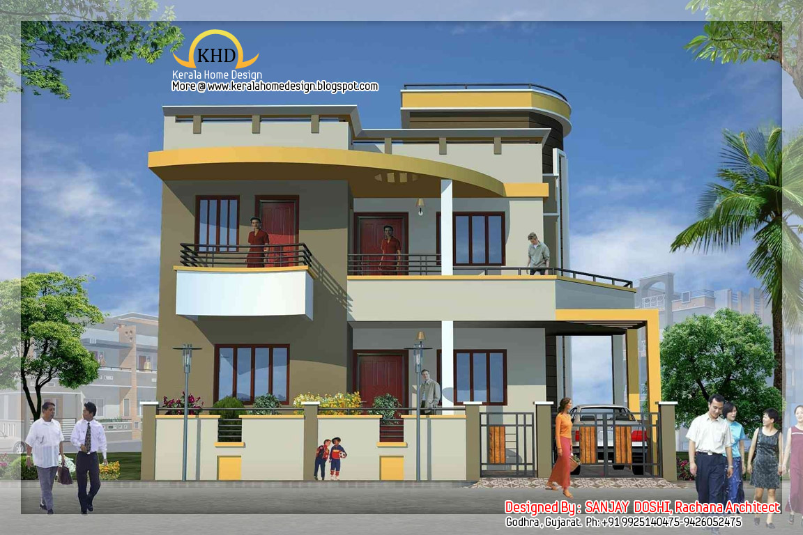 Beautiful Front Elevation Of Kerala Houses : Duplex house elevation designs beautiful front