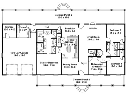 Ranch house plans with 4 bedrooms ranch house plans with for Large one story ranch house plans