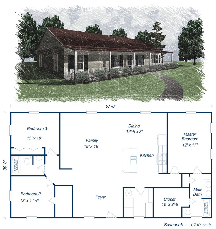 Metal building homes floor plans metal house kits and for Ranch style home kits