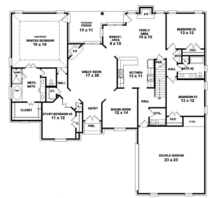 4 Bedroom 2 Story House Plans Story 3 Bedroom with ...