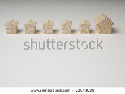 Small Wooden Model House On Plan White Background Stock Photo 50543029 Small Wooden House Design