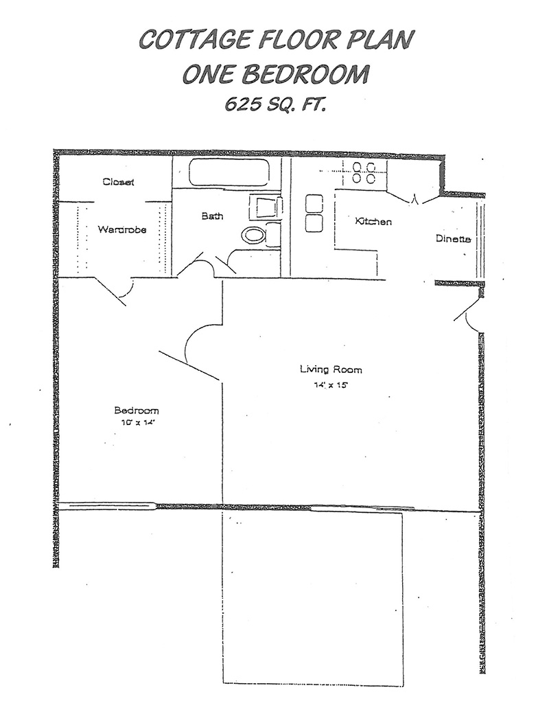 1 bedroom cottage floor plans 1 bedroom mobile homes one for Cottage floor plans