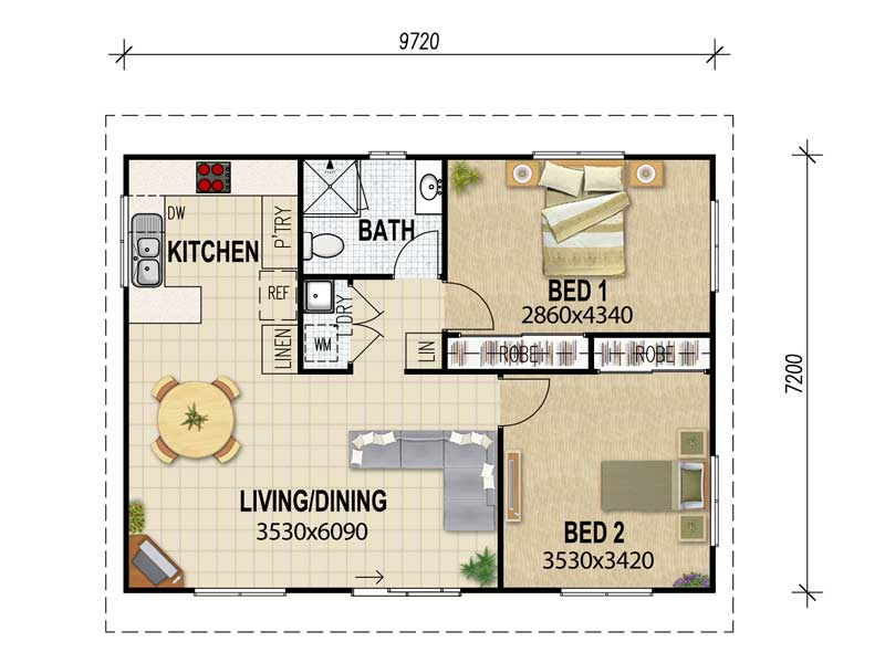 3 Bedroom Flat Floor Plan Granny flat plans & granny flat designs from House Plans Queensland