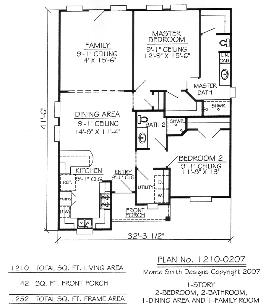 2 bedroom apartments 2 bedroom 1 bathroom house plans for Two bedroom two bath apartment floor plans