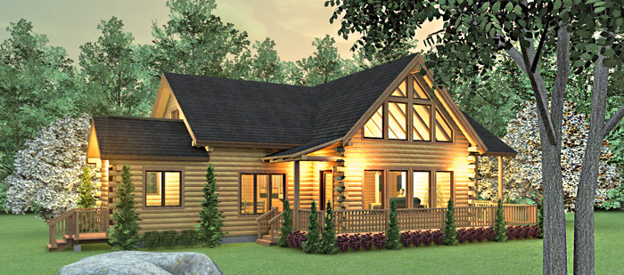 Modern log cabin homes floor plans ranch style log cabin for Ranch style log home floor plans