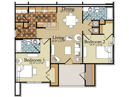 Small 2 Bedroom House Small 2 Bedroom Apartment Floor Plan