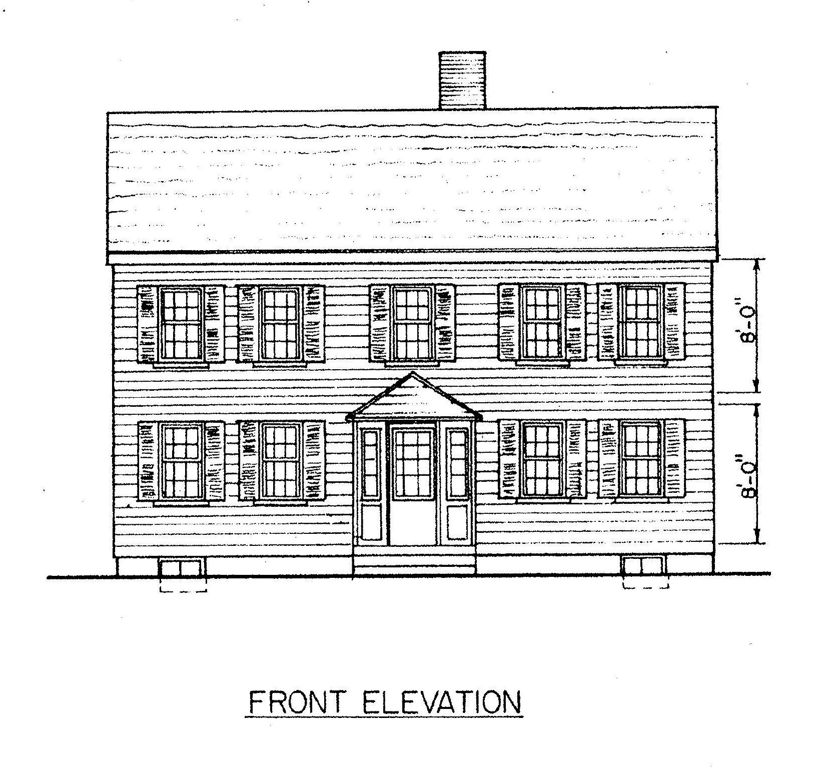 Simple Front Elevation Drawing : Primitive saltbox house plans