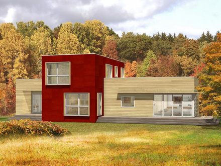 Modern house with metal siding metal barn homes modern for Energy efficient modern house plans