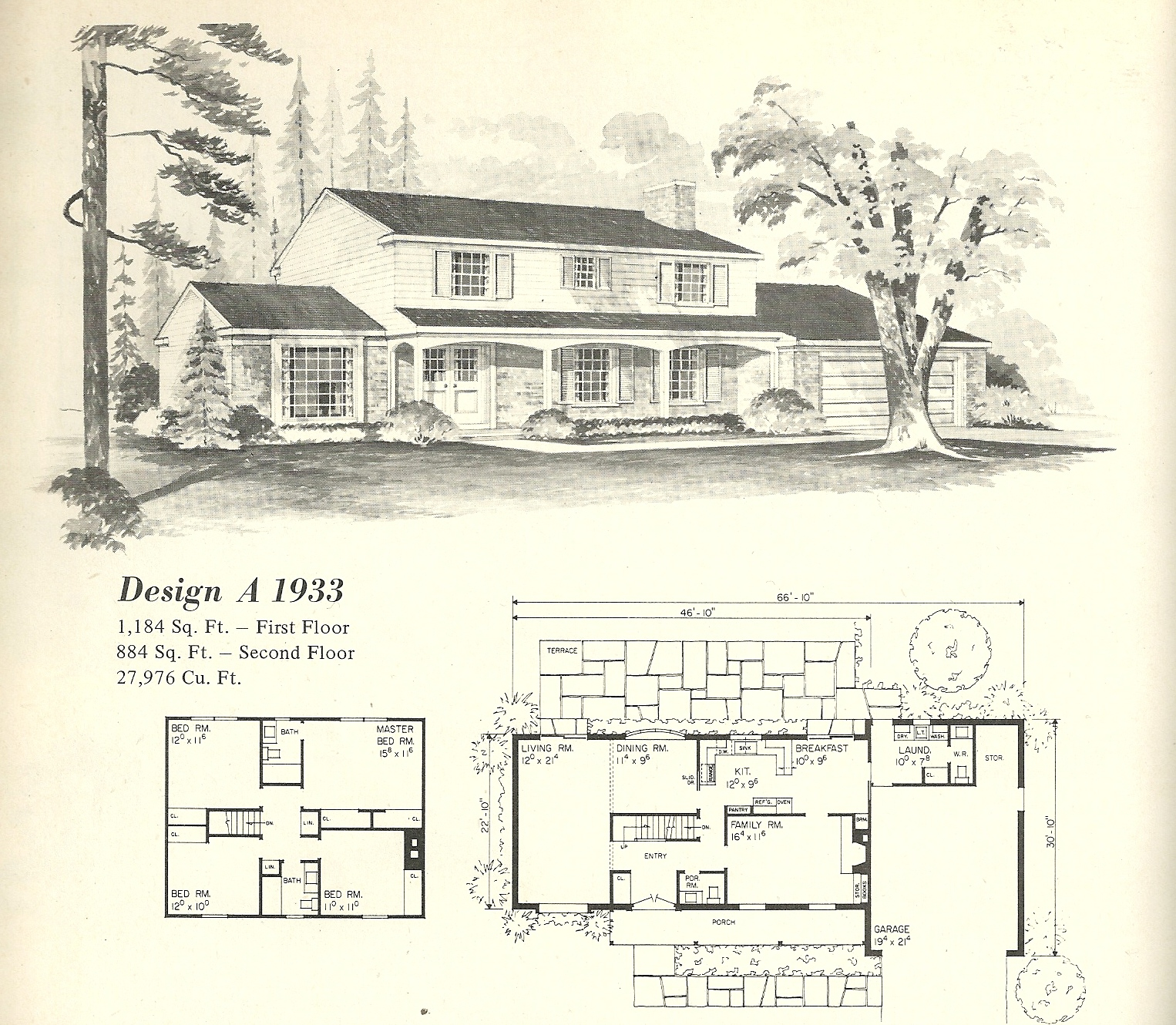 Old fashioned farmhouse floor plans vintage house plans for Old ranch house plans