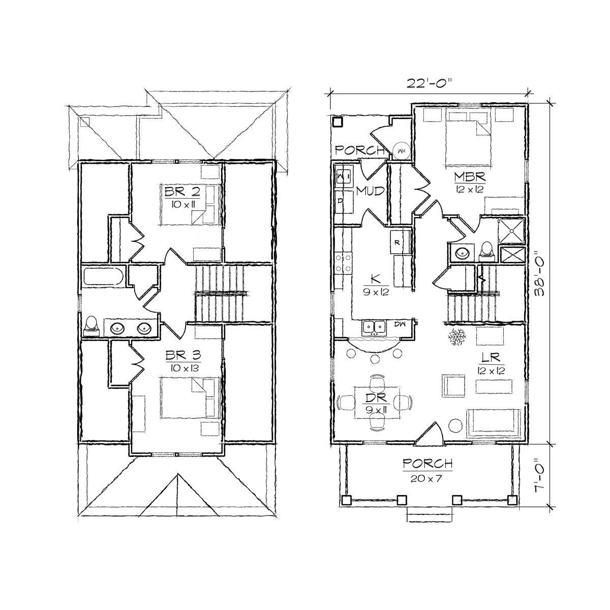 Bungalow floor plan simple one story floor plans narrow for Narrow lake house plans