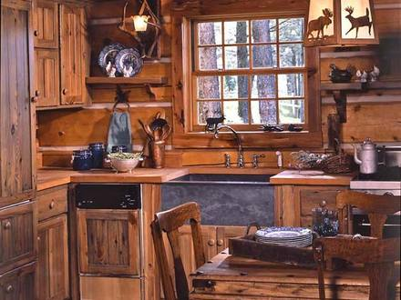 Old Log Cabins Small Rustic Log Cabin Kitchens