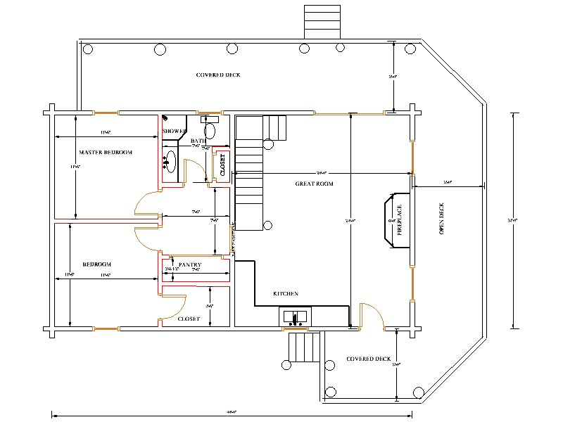 14x32 cabin floor plans with loft 14x32 small cabin plans for Basic log cabin plans