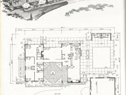 Vintage house plans 1954 ranch 1 1 2 story and tri level for Vintage ranch house plans