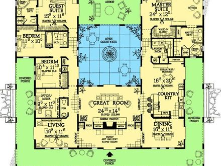 Mediterranean Style House Plans Spanish Style Home Plans with Courtyards