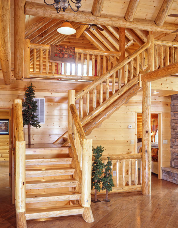 Rustic log home staircase rustic log cabin kits l shaped for L shaped log cabin floor plans