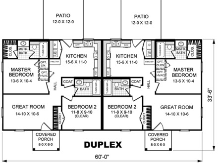 Simple Duplex House Plans One Story Duplex House Plans