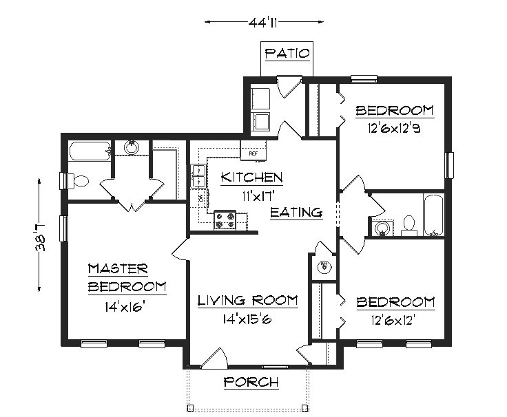 Simple House Plans 2 Bedroom House Plans