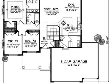 3 Bedroom House Plans No Garage 3-Bedroom Ranch House Plans