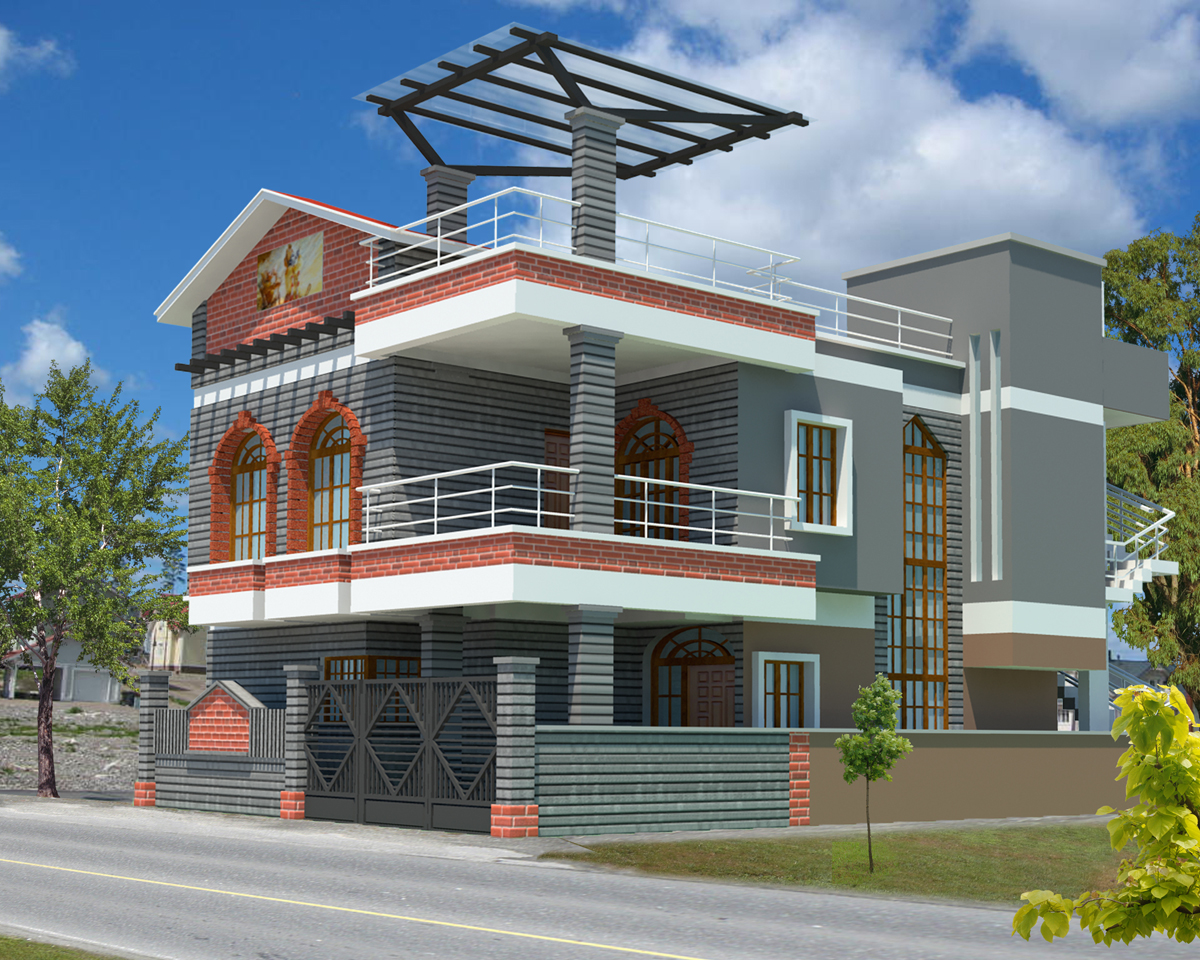 3d exterior house designs exterior home house design new for Old home designs
