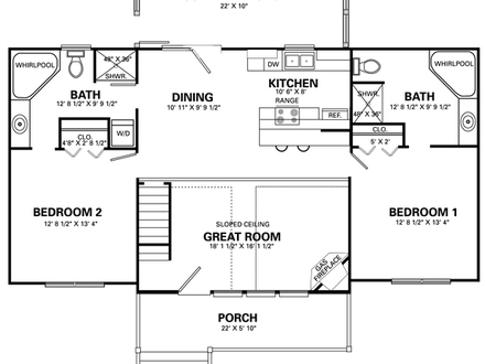 2 bedroom plans small cottage small 2 bedroom cabin floor for Simple 7 bedroom house plans