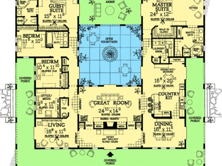 Spanish Style Home Plans with Courtyards Small Spanish Style House Plans