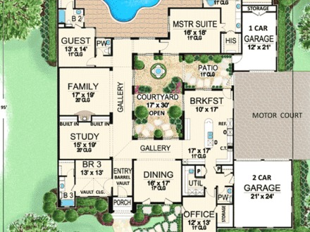 Center Courtyard House Plans Mexican Style Courtyard House Plans