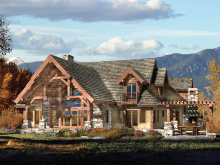 Modern stone and log homes log homes with stone work log for Timber frame ranch homes