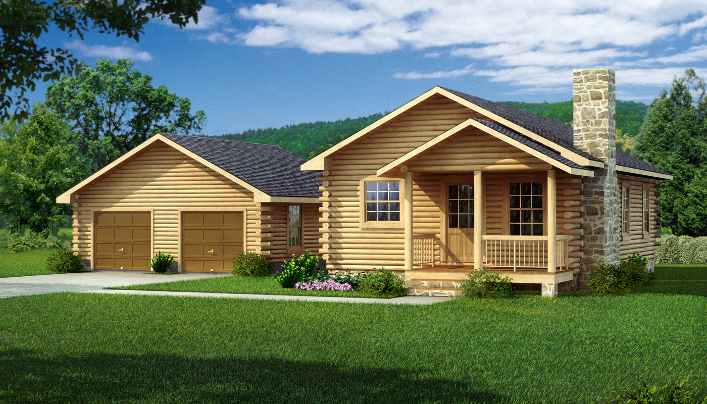2 story log cabin homes log cabin kitchens 2 story cabin for Two story cabin plans