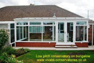 Low pitch for shingles low pitch roof conservatories for Low pitch roof house plans
