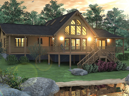 Huge log cabin homes multi million dollar log homes real for Two bedroom log homes