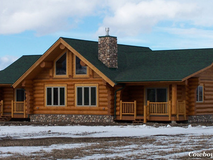 Ranch log homes floor plans single story log homes log for Craftsman log home plans