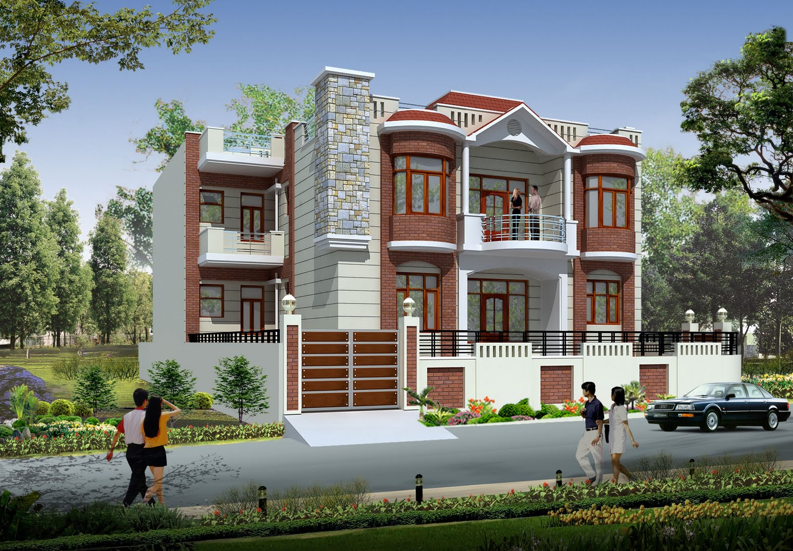 3d house front elevation indian house designs front view for Beach house elevation designs