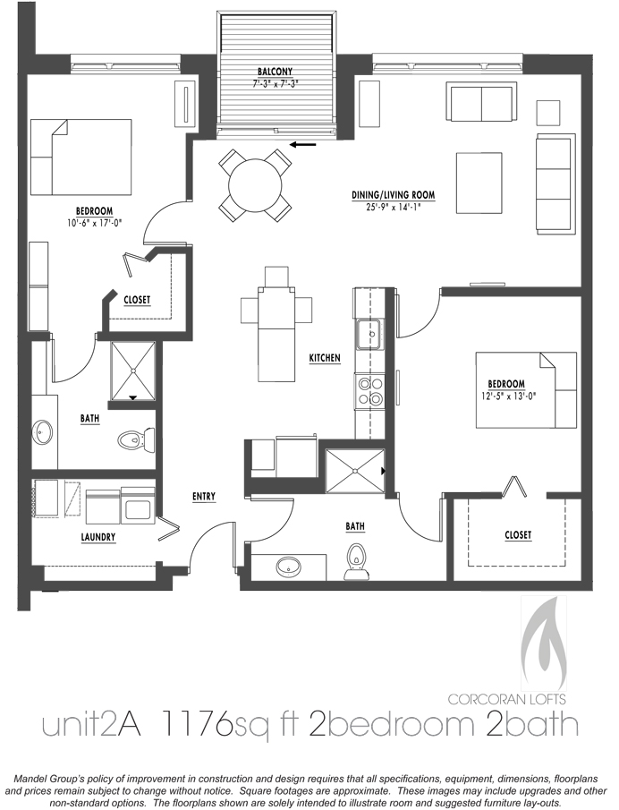 2 bedroom loft apartment floor plan floor plans 2 bedroom for Loft floor plans with dimensions