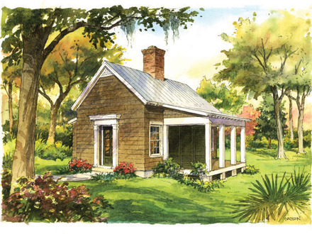 Little yellow cottage tiny little red cottage house for Red cottage house plans