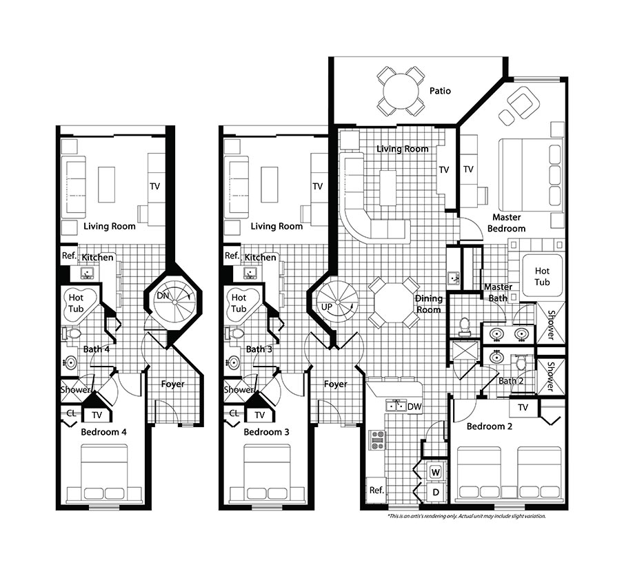 3 bedroom ranch floor plans 3 bedroom floor plan westgate for 2 bedroom villa floor plans