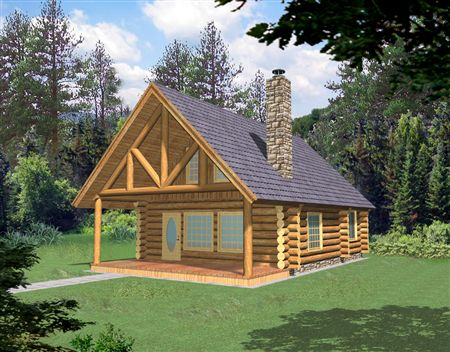 Small Log Cabin Homes Plans Small Log Home with Loft