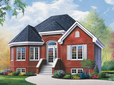 Brick Ranch House with Bay Window Stone Veneer On Ranch House