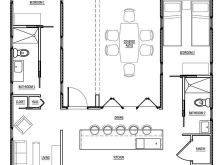 Guest house floor plan open floor plans small home small for Purchase floor plan